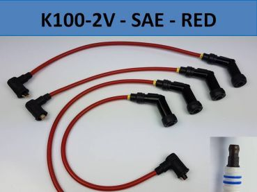 K100-2V Ignition wires Set of 4 - SAE Connector like original - Red