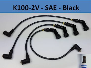 K100-2V Ignition wires Set of 4 - SAE Connector like original - black