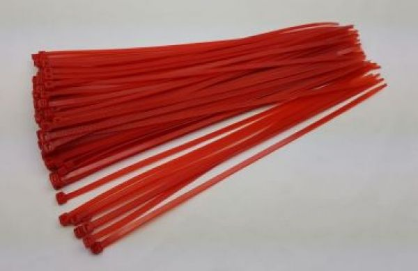Cable tie 4,8 x 300mm - red - 100 pcs.
